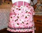 Cute Pink Cupcake Cherry Reversible Half Apron