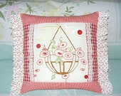 Hand Stitched Vintage Floral Hanging  Basket Country Decor Cottage Pillow