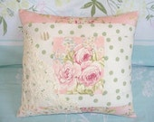 Soft French Pink Rose Polka Dots Accent Chic Decor Pillow