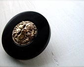 lion head button : gold brown nature king of the jungle plastic button