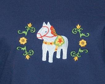 Scandinavian Whte Dala Horse Sweatshirt