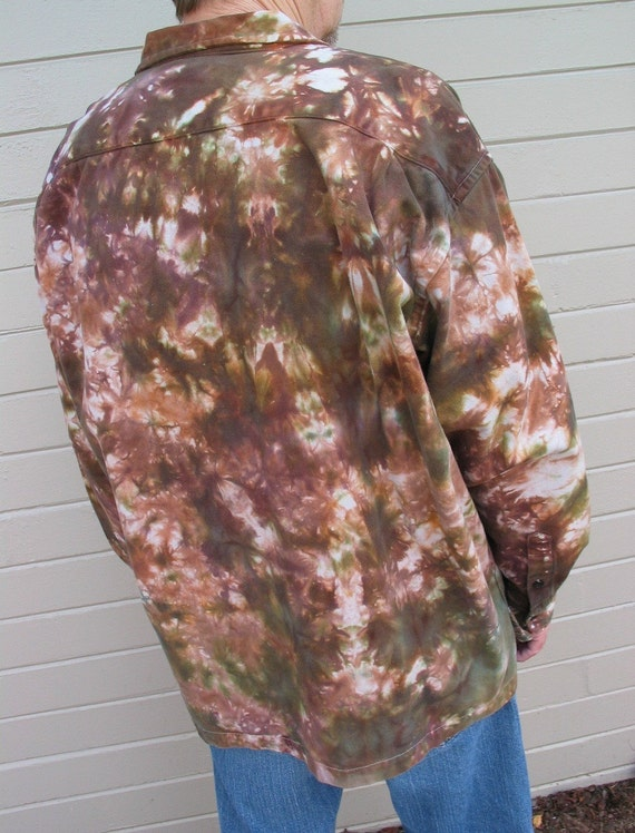 SALE hand dyed mens long sleeve shirt jacket upcycled eco friendly