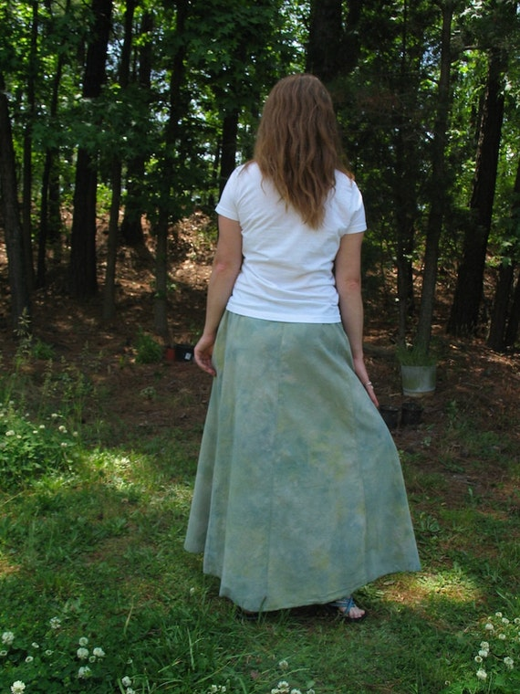 Soft green organic cotton hemp long skirt