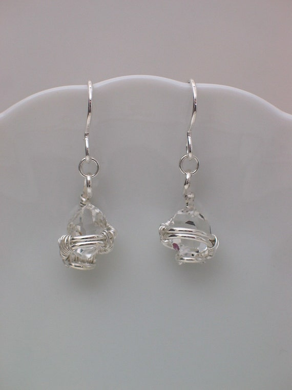 Wire Wrap Earrings Herkimer Diamond Quartz Crystals Silver