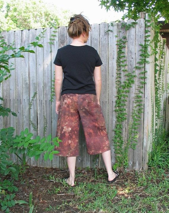 Earth hemp pants hand dyed hemp gauchos with patchwork pockets
