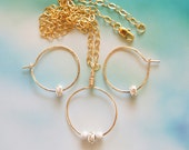 All That Glitters - gold filled, sterling, and cubic zirconia pendant necklace and hoop earrings set