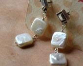 white pearl dangle handmade post earrings - Indulge