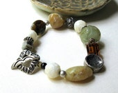 Organic Boho Chunky Stone Beaded Bracelet / Neutral Earthy Boutique Wearable Art / Rustic / Woodland