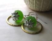 lime green, brass, silver earrings - Lime Crush