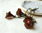 Deep Red Flower and Brass Earrings - Sassy