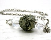 Pyrite Sterling Silver Necklace  Luxe Crystal Quartz Statement Necklace. Urban Industrial Neutral