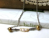 White Pearl Sterling Silver Necklace  /  Neutral. Natural. Rustic
