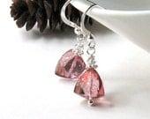 Pink Mystic Quartz Sterling Silver Earrings - Emily / Fashion Geometric Holiday Under 35