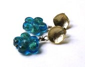 Modern Teal Murano Glass Post Earrings Teal Gold Stud Earrings Venetian Glass Floral Ocean Beach Small