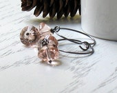 Peach Crystal and Sterling Silver Earrings - Cari /  Mothers Day Graduation