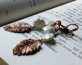 RESERVED for GEORGE - Copper Leaves Vintage Crystal Earrings - Flora /  Woodland Rustic Metallic