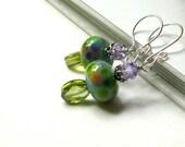 Purple and Green Beaded Earrings - Claudette / Green Earrings / Green Lampwork Beaded Earrings / Garden / Fresh / Monet Inspired