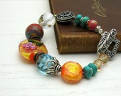 Turquoise and Dichroic Orange Boho Beaded Bracelet Bohemian Luxe Boutiuqe Wearable Art OOAK Statement