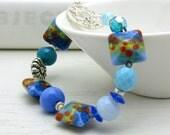 Blue Floral Lampwork Bohemian Beaded Bracelet  / Blue Lampwork Sterling Silver Boho Bracelet / Sea / Ocean / Sky / Garden