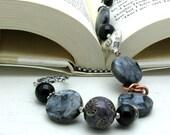 Black Bohemian Beaded Bracelet, Organic Charcoal Larvikite Bracelet / Neutral / Natural / Boho Chic / Organic / Urban Artisan / Heart