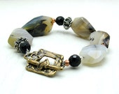 Banded Agate Boho Luxe Beaded Bracelet Organic Chunky Neutral Earthy Mixed Metals