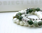 RES FOR HOLLY - Green Turquoise Sterling Silver Bracelet - Anna: Stretch Stacking Trendy Fresh Spring Woodland