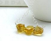 Citrine and Sterling Silver Necklace -  Serendipity: gemstone saffron spring for her under 75
