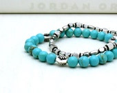 Turquoise Sterling Silver Beaded Bracelet: stack stretch trendy southwest summer