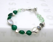 Emerald Green and Sterling Silver Bracelet - Donegal / Garden Fresh /  Winter Holiday Fashion