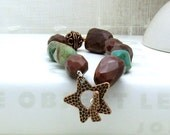 Turquoise Copper Boho Beaded Bracelet Organic Mookaite Copper Star Bracelet Boutique Wearable Art rustic / southwestern