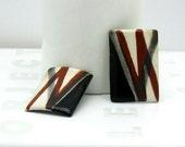 Vintage Striped Porcelain Post Earrings / Boho / Retro Geometric / Tribal