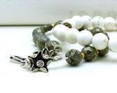 Pyrite Sterling Silver Brass Bracelet / Boho Pyrite Beaded Bracelet / Industrial / Urban / Minimalist / Metallic