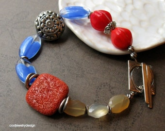 Coral and Citrine Boho Beaded Bracelet, Gemstone and Sterling Silver Boutique Wearable Art, for her Under 190
