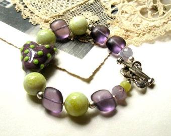 Purple Lime Bohemian Beaded Bracelet  / Purple Lime Lampwork Boho Bracelet /Love / Heart / Romance