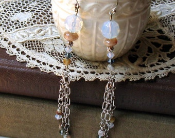 Gemstone Boho Beaded Dangle Earrings, Long Neutral Sterling Silver Chain Earrings, For Her Under 125
