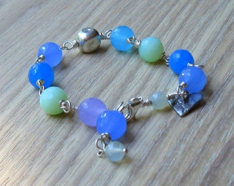 Blue Quartz Sterling Silver Wire Wrapped Beaded Bracelet, Organic, Pastel, For Her Under 100, One of a Kind