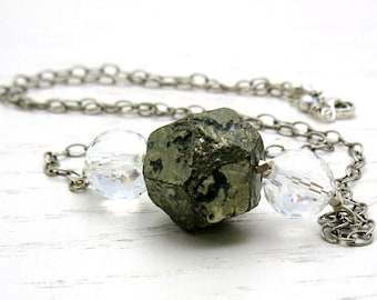 Pyrite Sterling Silver Necklace,  Luxe Crystal Quartz Statement Necklace, For Her Under 175, Gift for Girlfriend