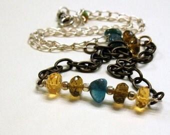 Citrine Apatite Boho Wire Wrapped Hanger Necklace, Boho Teal Honey Citrine Bib Necklace, Asymmetrical, For Her Under 150