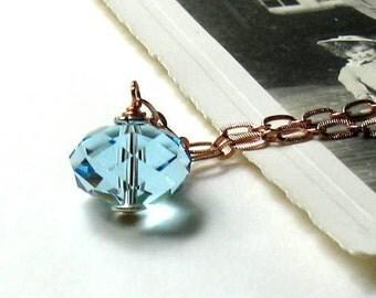 Aquamarine Crystal Pendant Necklace, Minimalist Aqua Crystal Pendant Necklace, Copper Chain Necklace, Pastel, For Her Under 100