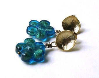 Modern Teal Murano Glass Post Earrings, Teal Gold Stud Earrings, Venetian Glass Small Earrings, For Her Under 50