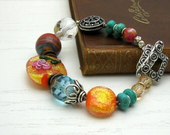 Turquoise and Dichroic Orange Boho Beaded Bracelet, Boho Luxe Boutiuqe Wearable Art OOAK Statement, for Her Under 275