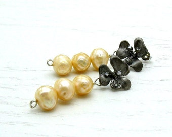 Yellow Pearl Modern Stud Earrings Honey Yellow Floral Post Earrings