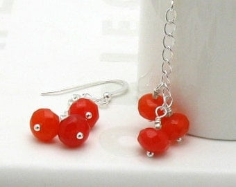 Red Modern Dangle Earrings Bright Colorful Red Orange Silver Drop Earrings, for Her Under 40