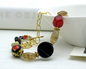 Red Gold Murano Glass Modern Luxe Beaded Bracelet Boutique Wearable Art Gold Chain Bracelet Black Gold Organic Bracelet