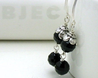 Black Crystal Sterling Silver Dangle Earrings, Black Drop Flower Earrings, For Her Under 75, Gift for Girlfriend