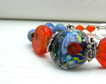 Red and Blue Boho Chic Beaded Bracelet, Bold Boutique Wearable Art by cooljewelrydesign, Luxe Statement Chunky Bracelet, For Her Under 350