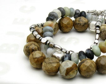 Picture Jasper Modern Beaded Bracelet, Brown Beaded Bracelet, Woodland, For Her Under 100
