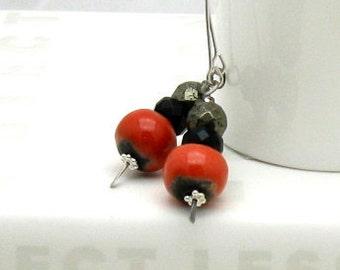 Red Black Boho Dangle Earrings, Tangerine and Pyrite Boho Beaded Drop Earrings, For Her Under 75