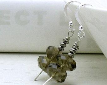 Smoky Quartz Modern Dangle Earrings, Natural Smoky Quartz Neutral Drop Earrings, for her Under 75