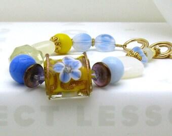 Cornflower Blue Boho Beaded Bracelet, Organic Stone and Lampwork Gold Fill Bracelet, for Her Under 170